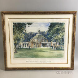 British School, 20th Century      Two Architectural Watercolor Renderings