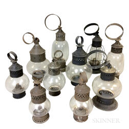 Ten Mostly Tin and Glass Onion Lamps