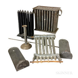 Small Group of Tin Lighting Devices and Candlemolds.     Estimate $400-600