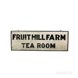 """Painted Pine """"Fruithill Farm Tea Room"""" Double-sided Sign"""