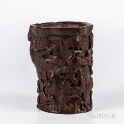 Carved Wood Brush Pot