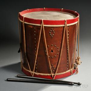 U.S. Marked Early 19th Century Snare Drum with Sticks