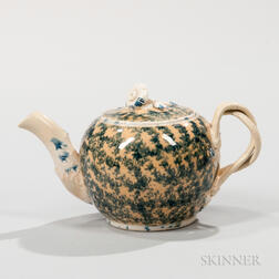 Staffordshire Buff Ground Cream-colored Earthenware Teapot and Cover