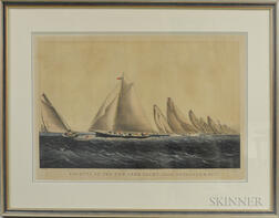 "Framed Currier & Ives Hand-colored Engraving Regatta Of The New York Yacht Club ""Rounding S.W. Spit,"""
