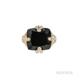 18kt Gold, Onyx, and Diamond Ring, Judith Ripka