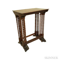 Set of Four Victorian Turned Mahogany Nesting Tables