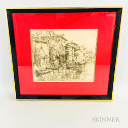 Framed Donald Shaw MacLaughlin Etching The Venetian Noontide