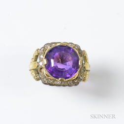 14kt Gold, Amethyst, and Rose-cut Diamond Ring