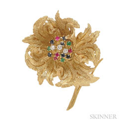 18kt Gold Gem-set Flower Brooch