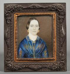 Portrait Miniature of a Young Woman Wearing a Blue Dress