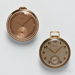 Two Ultra-thin Open Face Gold Watches