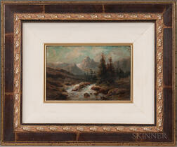 American School, 19th Century      Rushing Stream and Mountain Landscape