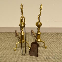 Pair of Brass Andirons, Pair of Tongs, and a Shovel