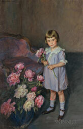Lydia Field Emmet (American, 1866-1952)      Portrait of a Child Arranging Peonies