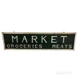 "Large Painted Pine ""Market/Groceries/Meat"" Sign"