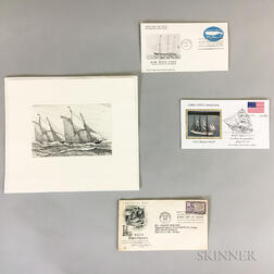 Four Charles J.A. Wilson Ship Etchings and Three First Day Covers