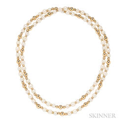 14kt Gold and Cultured Pearl Necklace