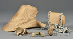 Three Shaker Bonnets, Two Wooden Pegs, and a Small Darning Aid