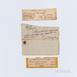 Lincoln, Benjamin (1733-1810) and Farragut, George (1755-1817) Documents Signed, and Worth, William Jenkins (1794-1849) Note Signed.