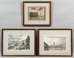 Three Framed Prints of Venice:      Continental School, 18th Century, Prospectus Palatii Ducalis, Supra Plateum
