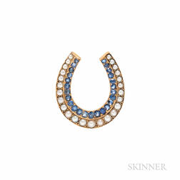 Antique Gold, Sapphire, and Split Pearl Horseshoe Pendant/Brooch