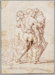 Italian School, 18th Century      Man Carrying a Weak or Wounded Figure