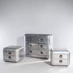 Three Aluminum Chests of Drawers