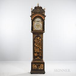 Japanned Quarter-striking Musical Longcase Clock by Joseph Eayre