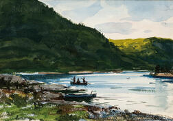 Ogden Minton Pleissner (American, 1905-1983)      Salmon Fishing Sketch - St. John River