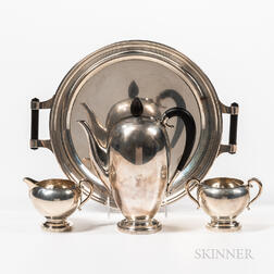 Three-piece U.S.A. Georg Jensen Sterling Silver Coffee Set with an Associated Tray