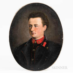 Canadian/American School, 19th Century    Oval Portrait of a Young Man