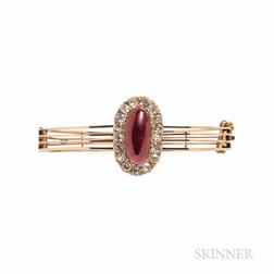 Antique Gold, Garnet Carbuncle, and Diamond Bracelet