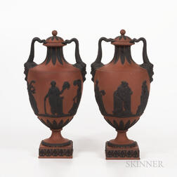 Pair of Wedgwood Rosso Antico Vases and Covers