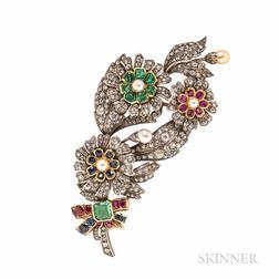 Diamond and Gem-set Flower Brooch