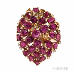 14kt Gold, Ruby, and Diamond Cluster Ring