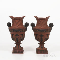 Pair of Wedgwood Rosso Antico Egyptian Vases