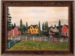 American School, c. 1900  Midwest Farmstead Unsigned. Watercolor and gouache on paper, 19 3/4 x 27 3/4 in., a colorful cl...