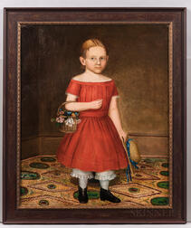 Attributed to Deacon Robert Peckham (Massachusetts, 1785-1877), Portrait of Girl in a Red Dress Holding a Basket of Flowers and Hat, Un