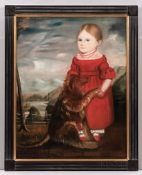 American School, Early 19th Century      Portrait of a Young Girl in Red with Her Dog