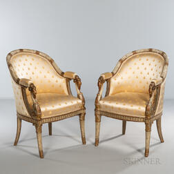 Pair of Louis XV-style Upholstered Armchairs
