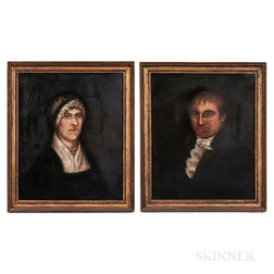 Attributed to Frederick Mayhew (Massachusetts, 1785-1854)    Pair of Portraits: Husband and Wife