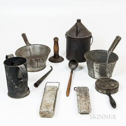 Group of Metal and Stone Domestic Items