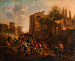 Dutch School, 17th Century    Italianate Town Scene with Street Festival