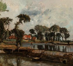 Henri Van Der Hecht (Belgian, 1841-1901)      Broad Landscape with a River and Dam, Houses Beyond