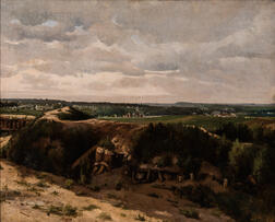 French School, 19th Century      Broad Landscape Vista, Said to be the Outmost Environs of Paris