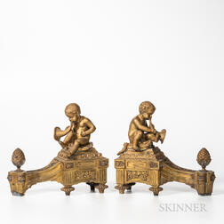 Pair of French Bronze Chenets with Brass Tools