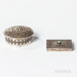 Two Navajo Silver Pillboxes