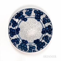 "Dedham Pottery ""Grape"" Pattern Plate"