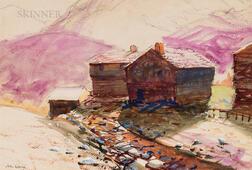 John Whorf (American, 1903-1959)      Hillside Cabin
