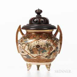 Satsuma Censer with Carved Wood Cover